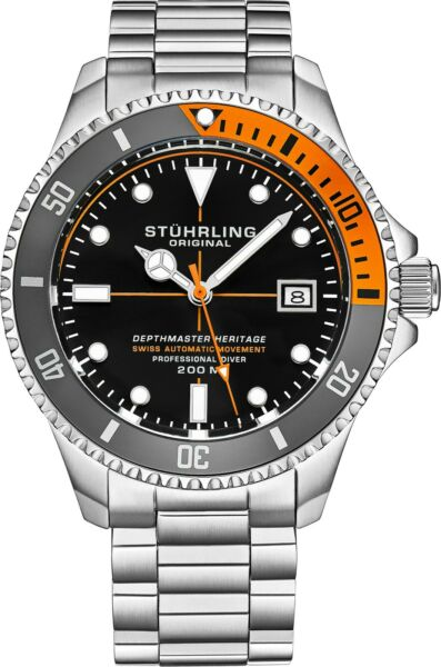 Stuhrling Depthmaster Heritage 883H Swiss Automatic Stainless Men#x27;s Diver Watch $395.00