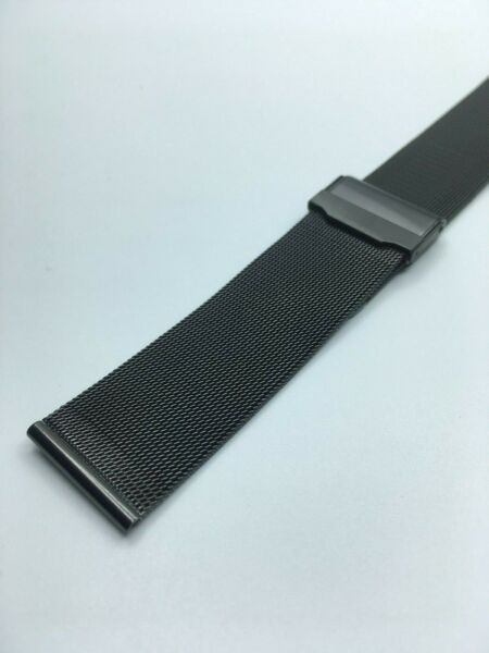 NEW 22MM BLACK STAINLESS STEEL FINE MESH WATCH BAND DOUBLE LOCK STRAP