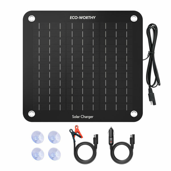 ECO Solar Panel 10W 12V Trickle Charge Battery Charger Kit Maintainer Boat Car