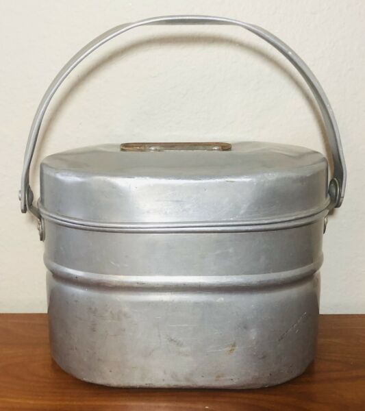 VINTAGE No. 242 WEAR EVER ALUMINUM 3 PIECE WWII USGI MESS KIT LUNCH BUCKET PAIL