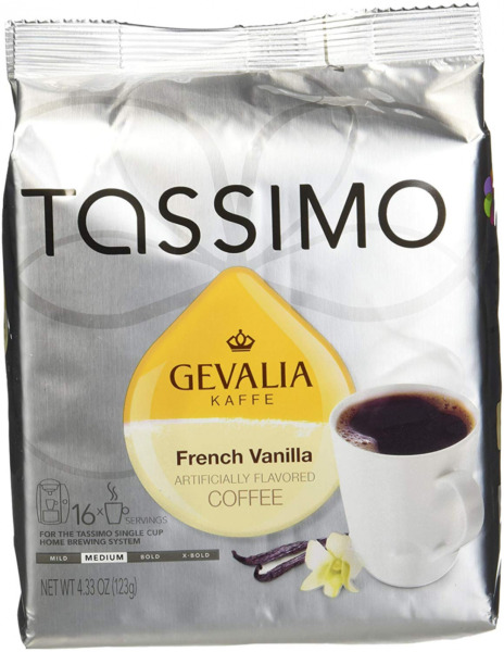 Tassimo T Discs: Gevalia French Vanilla Coffee T Disc Pods Case of 5 packages;