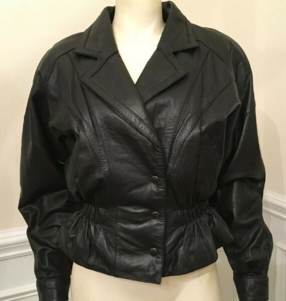 LUCKY LEATHER WN SZ SM MOTO Jacket BLACK MINT CONDITION FULLY LINED FITTED WAIST