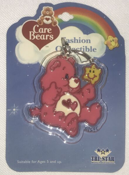 Vintage Care Bear Keychain Lovealot New Old Stock NOS
