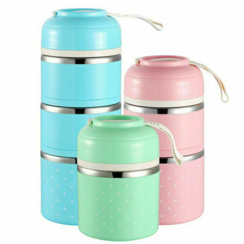 Hot 1 2 3 Layers Thermal Lunch Box Stainless Food Storage Container Kids Bento