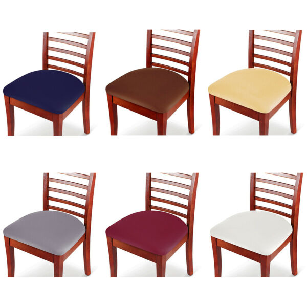 2 4 6Pcs Removable Chair Seat Covers Elastic Stretch Slipcovers Dining Spandex $17.99