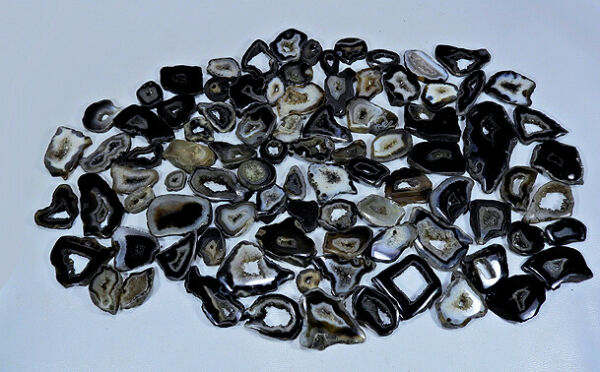 NATURAL BLACK SLICE DRUZY AGATE MIX CABOCHON LOOSE GEMSTONE WHOLESALE LOT GT156