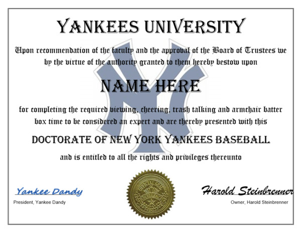 NEW YORK YANKEES PERSONALIZED FAN CERTIFICATE  DIPLOMA GREAT GIFT