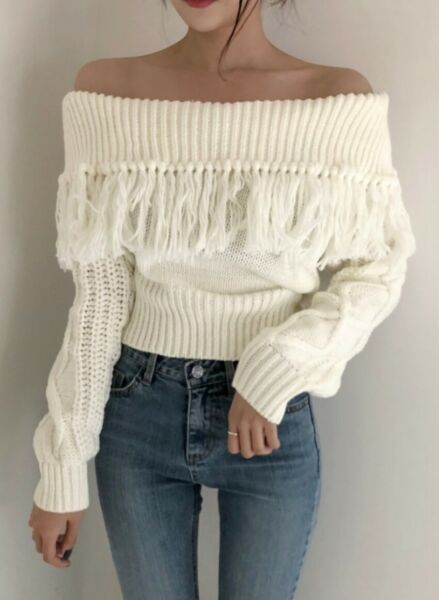 Ivory White Boho Chic Off Shoulder Fringe Sweater Cable Knit Sleeve