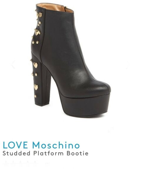 """Moschino boots bootie Size EU40 Womens Black 5.5"""" height 4"""" heel made in Italy $340.00"""