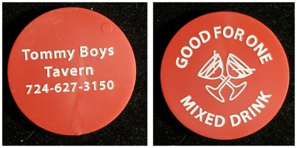Tommy Boys Tavern Waynesburg PA good for one mixed drink trade token gft219 $4.50