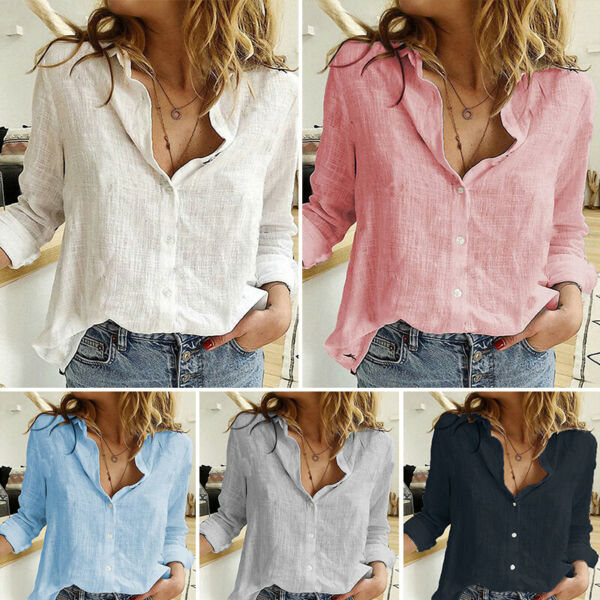 Womens Cotton Linen Loose Tops Blouse Ladies Long Sleeve Casual Pullover T Shirt $15.99