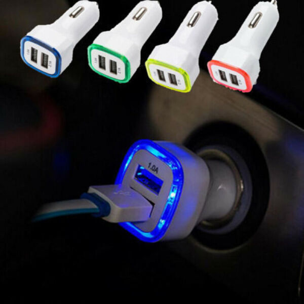 1x Universial Car Double USB Port Auto Charger LED Adapter For Cell Phone Useful $0.99