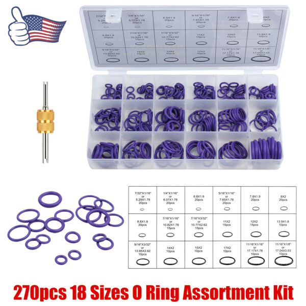 270 Car Air Conditioning O Rings Assortment Kit Purple w/Valve Core Removal Tool