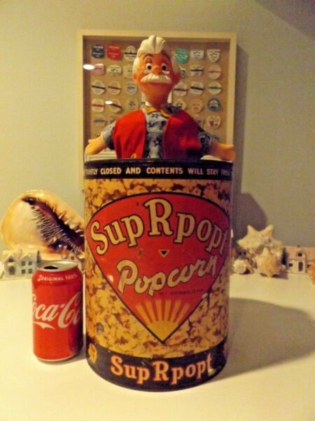 VINTAGE SUP R POPT POPCORN (POP CORN)  TIN CAN GREAT GRAPHICS ON LABEL