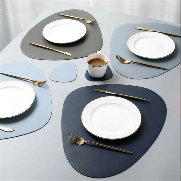Elegant Faux Leather Placemat Non-Slip Kitchen Dining Table Mat Heat Insulation