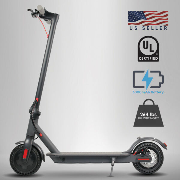 300W Portable Folding Electric Scooter wLED Headlight & LCD Dispaly Solid Tire