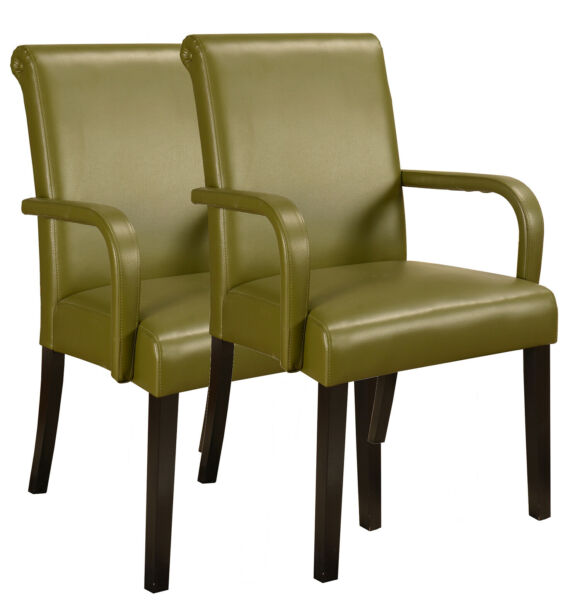 Kings Brand Set of 2 Green Accent Parson Chairs With Arms And Solid Wood Legs