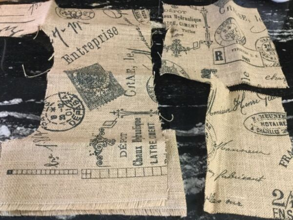 Printed Burlap Material Small Pieces Lot 9x9 8x6 15x7 3.5x11 remnants T2