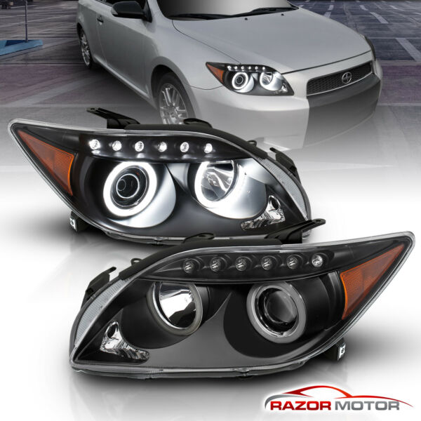 LED Halo For 2004 2010 Scion tC Coupe Black LED Tube Projector Headlights Pair $183.23