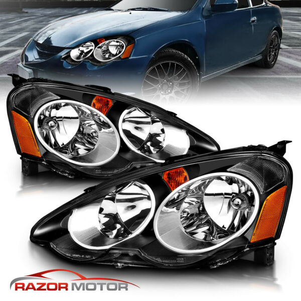 2002 2003 2004 Acura RSX Black Factory Style Headlights Head Lamps Pair