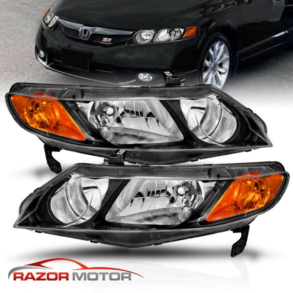 For 2006 2011 Honda Civic 4 Door Sedan Black Factory Style Headlights Pair