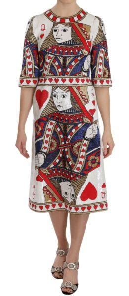 DOLCE & GABBANA Dress Queen Of Hearts Card Sequined RUNWAY IT40US6S RRP $52000