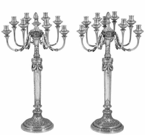 Magnificent & Impressive Very Large Pair Of Antique Solid Silver Candelabra