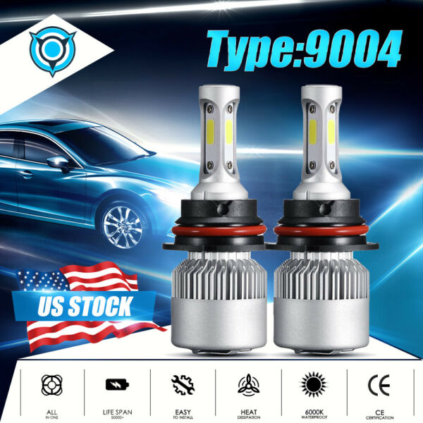 for Dodge Ram 1500 2500 3500 1994-2001 9004 HB1 LED Headlight Bulbs 6000K White