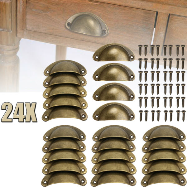 24x Cabinet Shell Pull Cupboard Door Drawer Cup Handle Knobs Kitchen Hardware US