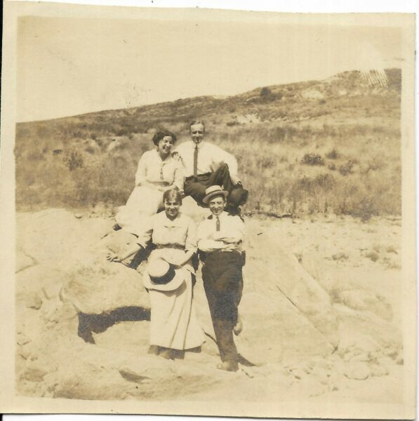 2 vtg antique photos women men wearing hats woman by palm tree