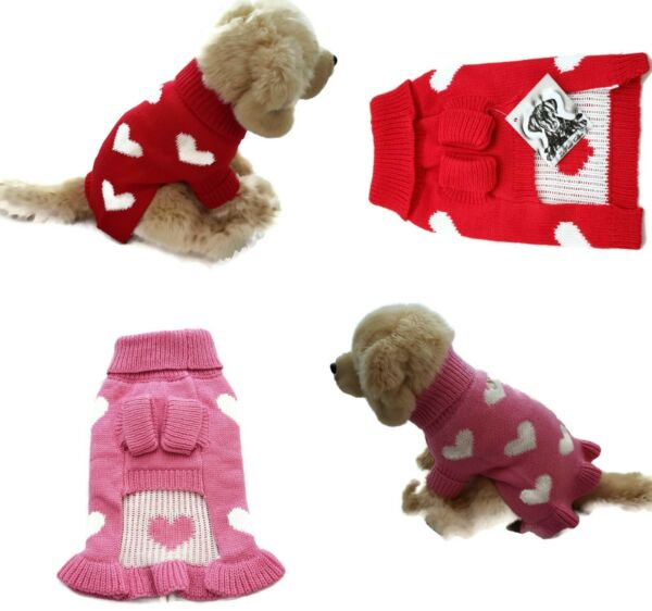 Valentine Dog Sweater Soft Thick Warm Cute Hearts Pink Red $9.99