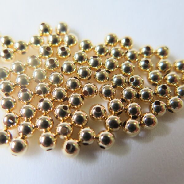 Fine Jewelry 18K Yellow Gold DIY Weave Bracelet Or Necklace 3mm Loose Bead