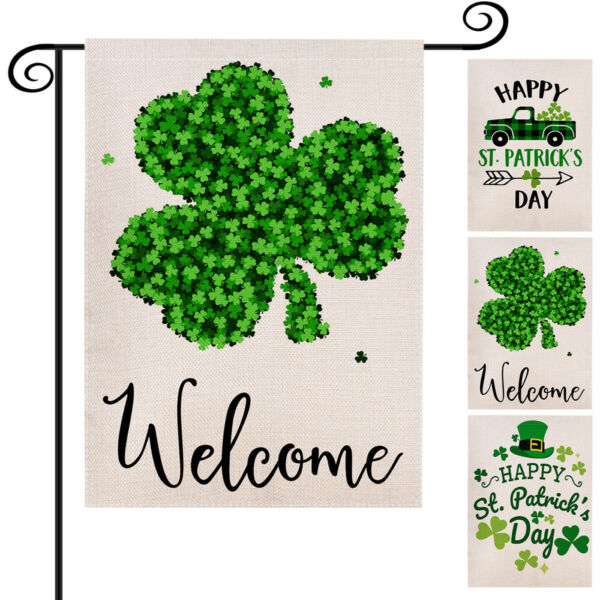 St. Patricks Day Garden Flag Irish Banner 12x18 2 Sided Heavy Duty Yard Decor 1x
