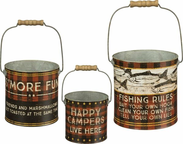 3 Piece FISHING RULES Pails: Happy Camper - S'Mores- Buffalo Plaid Rustic Cabin