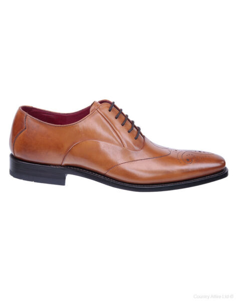 Design Loake 'Gunny' Tan Burnished Calf Chisel Toe Stitch Detail Lace Up Oxford
