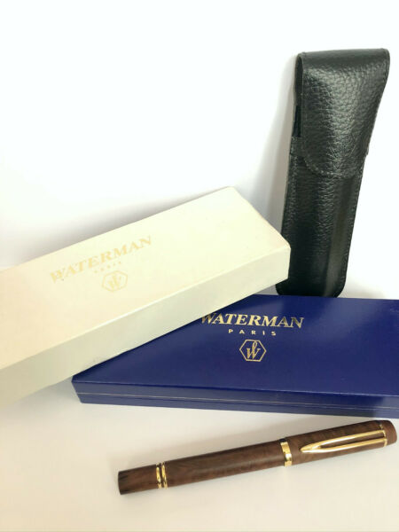 Rare WATERMAN LE MAN 100 Specialty Briar Wood 18K 750 Gold Nib Fountain Pen