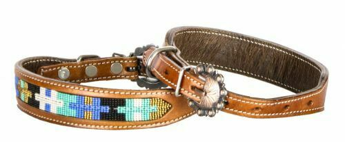 Showman Couture Genuine leather dog collar with multi colored cross beaded inlay $18.95