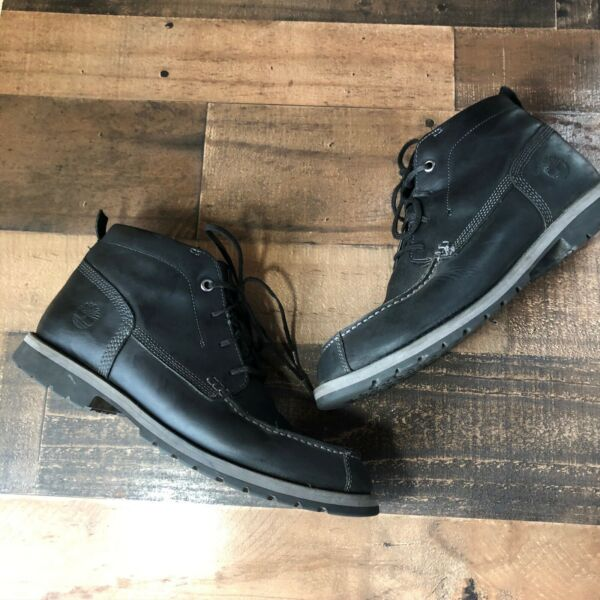 Mens Timberland Black Leather Lace Up Ankle Boots Size 10.5 $60.00