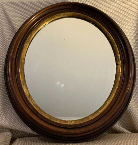 """OVAL Antique Mahogany Wood Gold Gilded Mirror 16""""x19"""""""