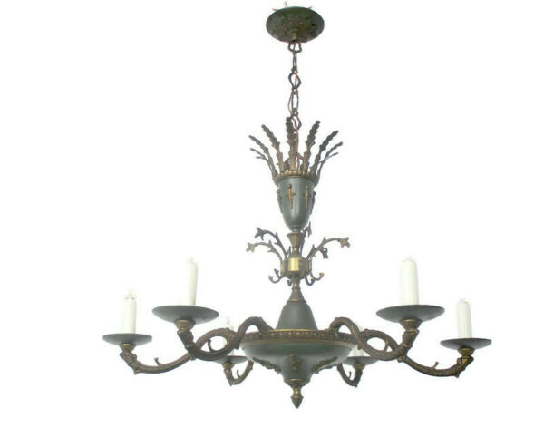 French Empire Chandelier Green Tole Brass 6 arm Lights Hollywood Regency Crown
