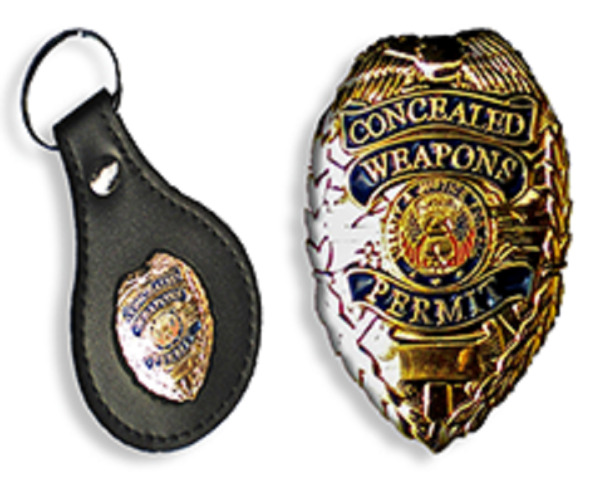 KEYCHAIN Leather FOB GOLD BADGE CCW CONCEALED CARRY PERMIT