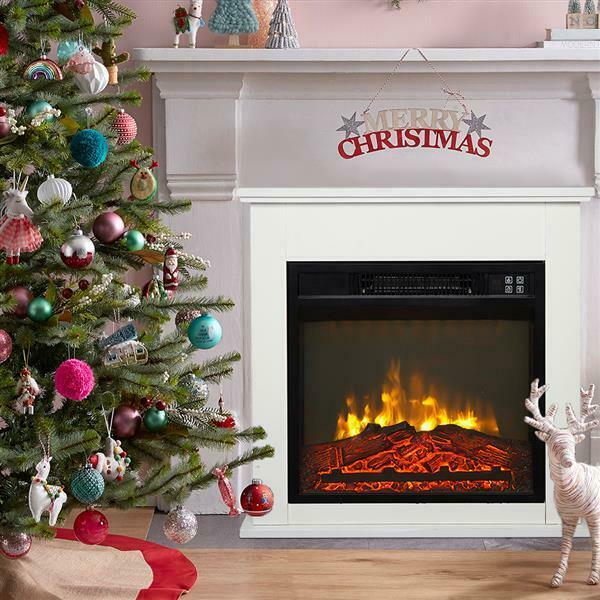 Electric Fireplace Heater TV Stand Realistic Flame Log Mantel Stove Bedroom
