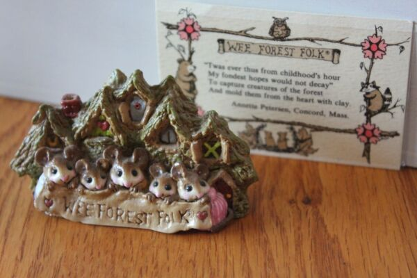Rare Wee Forest Folk Annette Petersen Family Mice Mouse Retired 1983 Signed