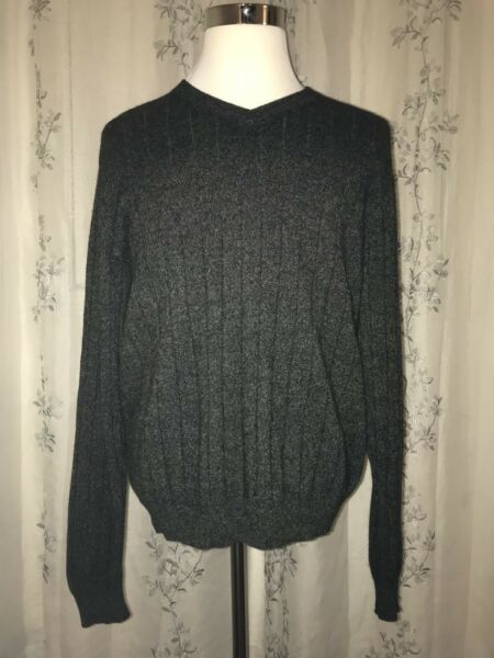 Tasso Elba 2-Ply 100% Cashmere Heather Gray V-Neck Sweater Soft Rib Size Large