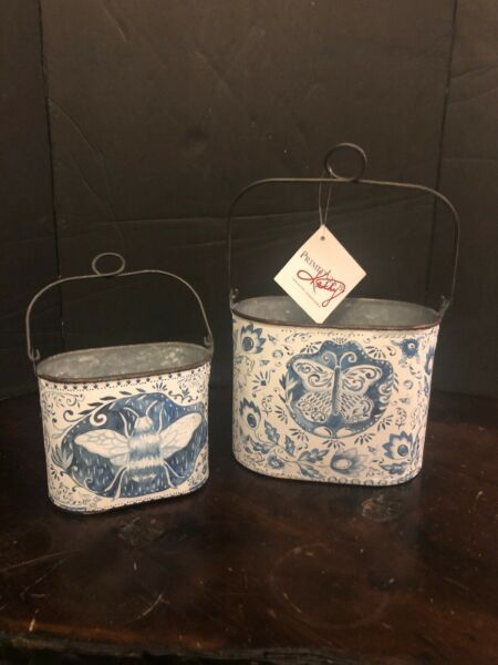 Bucket  Pail Set of 2 Bee & Butterfly Blue & White Primitives By Kathy Decor