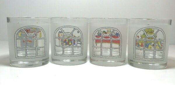 4 Christmas Scene Frosted See Through Drinking Glasses Portugal Tree Table Fire