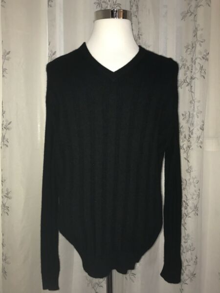 Tasso Elba 2-Ply 100% Cashmere Black V-Neck Sweater Soft Rib Long Sleeve Size XL