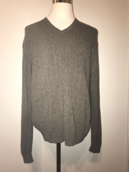 Tasso Elba 2-Ply 100% Cashmere Heather Brown V-Neck Cable Knit Sweater Size XL