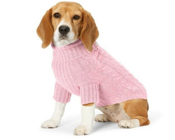 Polo Ralph Lauren S Pink Cable Knit Cashmere Blend Dog Small 4 7lbs Sweater $74.99