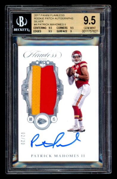 2017 Flawless PATRICK MAHOMES 20 Silver Rookie Patch Auto BGS 9.510 Gem Mint!
